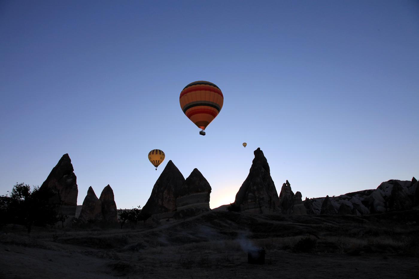 Balloons over Rose Valley, Cappadocia, Turkey