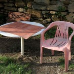 Pink chair and table, Seben, Turkey