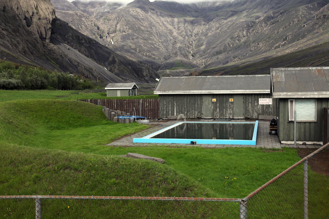 Swimming pool at the foot of  Eyjafjallajokull, Iceland